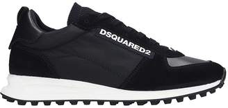 DSQUARED2 New Runner Hiki Sneakers In Black Suede And Leather