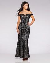 Quiz Sequin Mesh Bardot Maxi Dress