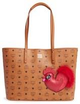 MCM New Year Series Medium Coated Canvas Shopper With Genuine Fox Fur Trim - Brown