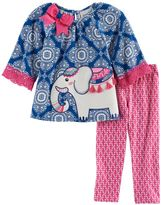 Rare Editions Toddler Girl Elephant Applique Patterned Top & Leggings Set