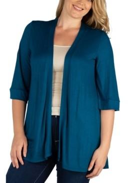 24seven Comfort Apparel Women's Plus Size Open Front Cardigan