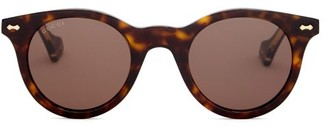 Gucci Engraved-frame Round Acetate Sunglasses - Brown