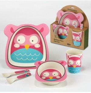 Certified International Owl Eco Friendly Bamboo Fiber 5-Pc. Kids Dinnerware Set