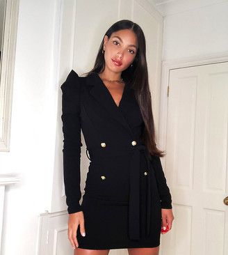 Outrageous Fortune Tall double breasted blazer dress in black