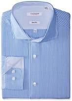 Isaac Mizrahi Men's Slim Fit Stripe Cut Away Collar Dress Shirt