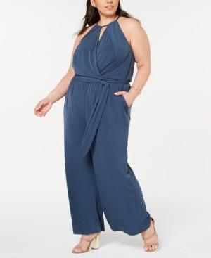 1 STATE Trendy Plus Size Halter-Neck Faux-Wrap Jumpsuit