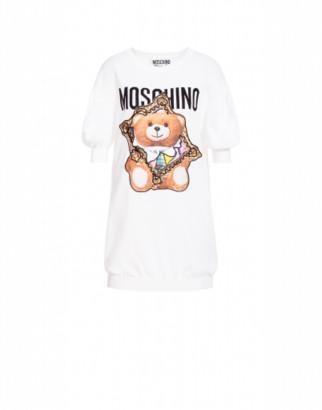 Moschino Cotton Dress Frame Teddy Bear Woman White Size 40 It - (6 Us)