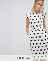 Closet London Closet Polka Dot Cap Sleeve Midi Dress