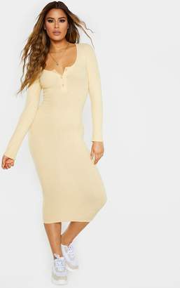 PrettyLittleThing Tall Stone Soft Rib Button Front Long Sleeve Midaxi Dress