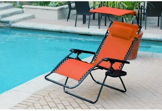 Zero Gravity Cabral Folding Chair with Sunshade And Drink Tray Freeport Park Seat Color: Orange