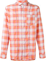 Lanvin stitching seam check shirt