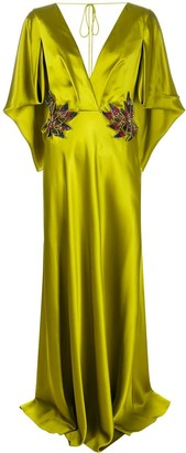 Alberta Ferretti Draped-Sleeve Embellished Satin Gown