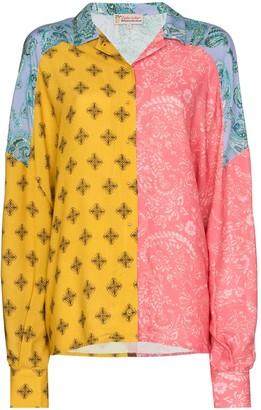 Esteban Cortazar Colour-Blocked Paisley-Print Shirt