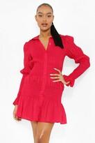 Thumbnail for your product : boohoo Shirred Long Sleeve Shirt Dress