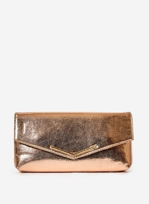 Dorothy Perkins Womens Rose Gold Metal Bar Clutch, Rose Gold