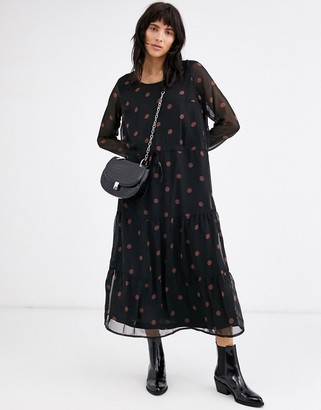 Ichi polka dot midi dress