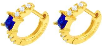 Opes Robur Gold Vermeil Blue Stone Princess Hoops