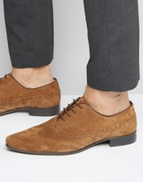 Asos Oxford Longwing Brogue Shoes in Tan Suede