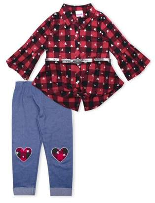 Nannette Bell Sleeve Front Tie Plaid Top With Belt and Knit Denim Legging, 2-Piece Outfit Set (Little Girls)