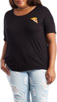Charlotte Russe Plus Size Embroidered Pizza Tee