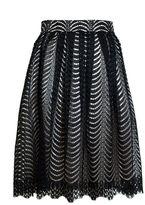 Quiz Black And Stone Lace Scallop Midi Skirt