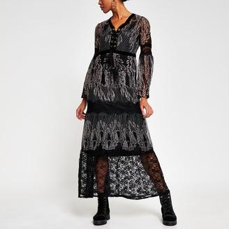 River Island Womens Black long sleeve lace layer midi dress