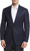 Armani Collezioni G-Line Windowpane Two-Button Jacket, Navy/Gray