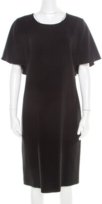 Alberta Ferretti Black Crepe Knit Draped Sleeve Shift Dress M