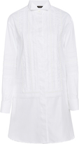Burberry Pintucked Macram Lace-Paneled Cotton Shirt Dress