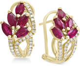 Effy Amoré by Certified Ruby (2-1/5 ct. t.w.) & Diamond (1/3 ct. t.w.) Drop Earrings in 14k Gold