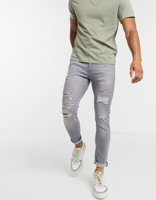 Jack and Jones Intelligence Liam skinny fit ripped jeans in light grey