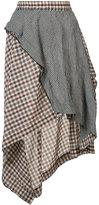 Hache asymmetric plaid skirt