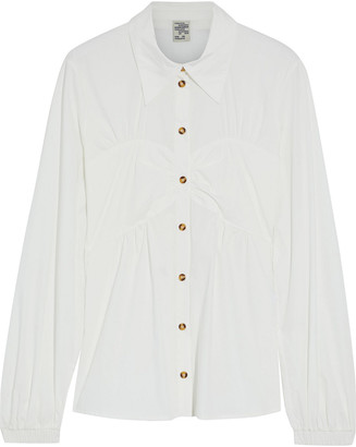 Baum und Pferdgarten Melissa Ruched Striped Cotton-blend Poplin Shirt