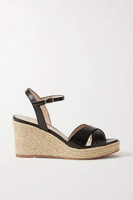 Stuart Weitzman Rosemarie Croc-effect Leather Espadrille Wedge Sandals - Black