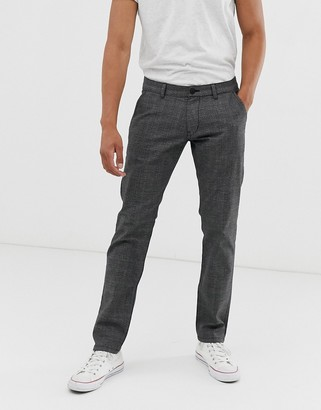Esprit check trousers in slim fit-Grey
