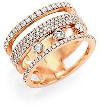 Messika Women's Move Romane 18K Rose Gold & Diamond Pavé Ring