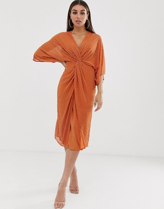 Asos Design DESIGN midi kimono dress with starburst beading-Orange