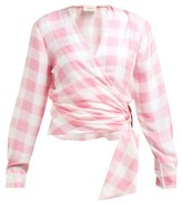 Adriana Degreas Vichy Gingham-print Wrap Top - Womens - Pink
