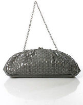 Elliott Lucca Gray Patent Leather Woven Kiss Lock Small Clutch Handbag