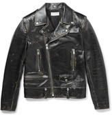 Saint Laurent Distressed Leather Biker Jacket