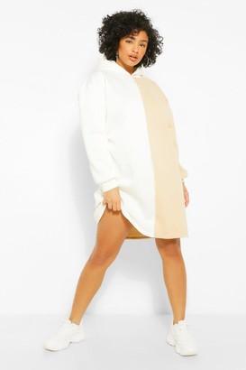 boohoo Plus Colour Block Hooded Sweat Dress