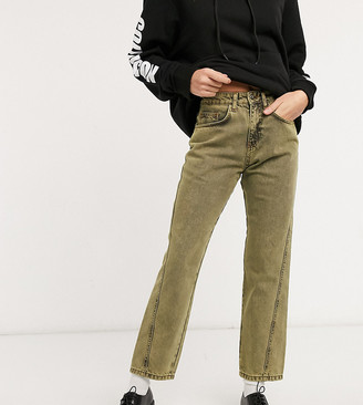 Collusion x005 cropped straight leg jeans with twisted seams in yellow overdye