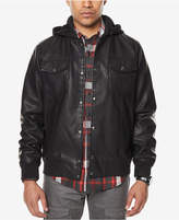 Sean John Men's Faux-Leather Hooded Jacket