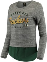 Outerstuff Women's Juniors Heathered Gray/Green Green Bay Packers Shirt Tail Layered Long Sleeve T-Shirt