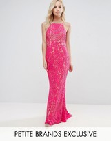 Jarlo Petite Allover Lace High Neck Maxi Dress