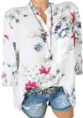 HOOUDO Women Fashion Casual Plus Size Chiffon V-Neck Floral Print Chinese Style Long Sleeve Blouse Pullover Tops Shirt White