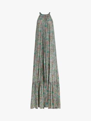AllSaints Roma Sleeveless Paisley Print Tunic Maxi Dress, Green/Multi