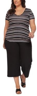 Black Tape Plus Size Striped T-Shirt