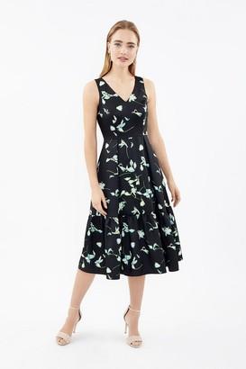 Coast V-Neck Twill Dirndl Hem Midi Dress