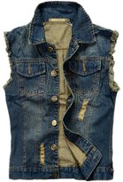 K3K New Mens Fashion Broken Holes Sleeveless Denim Concealed Carry Vest (, Black)